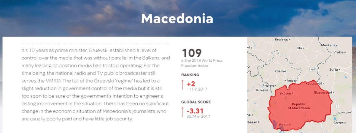 Репортери без граници: Мало подобрување во Македонија